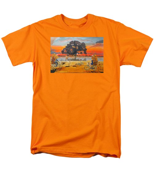 Men's T-Shirt  (Regular Fit) featuring the painting End Of Season Habits Listen With Music Of The Description Box by Lazaro Hurtado