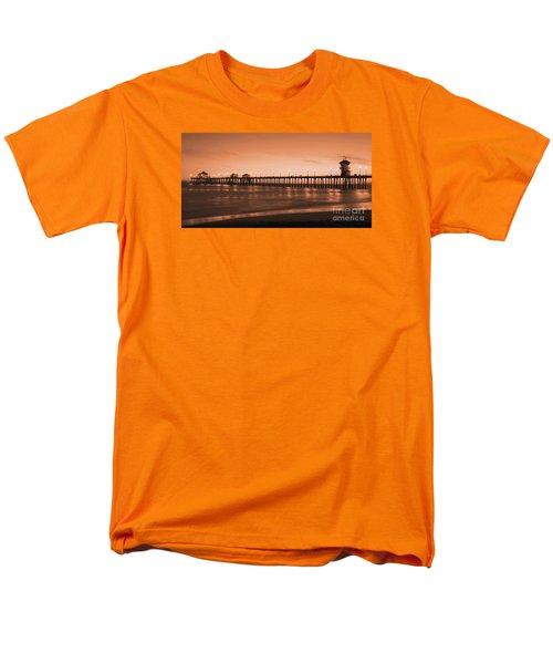 Huntington Beach Pier - Twilight Sepia Men's T-Shirt  (Regular Fit) by Jim Carrell