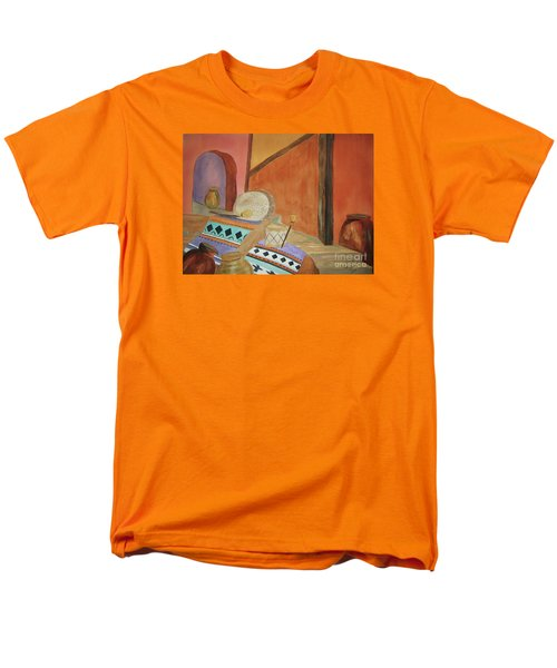 Men's T-Shirt  (Regular Fit) featuring the painting Indian Blankets Jars And Drums by Ellen Levinson