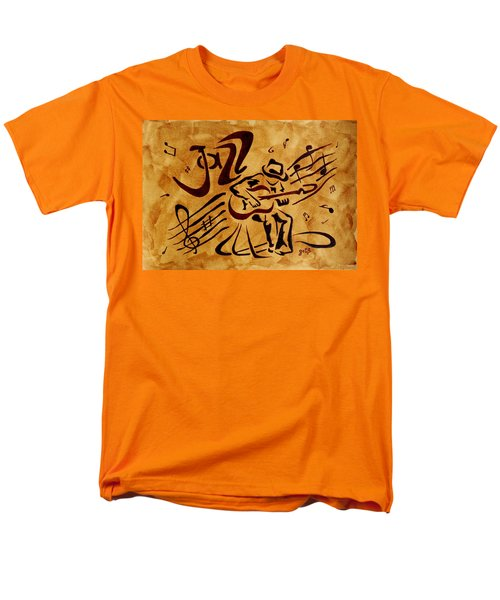 Men's T-Shirt  (Regular Fit) featuring the painting Jazz Abstract Coffee Painting by Georgeta  Blanaru