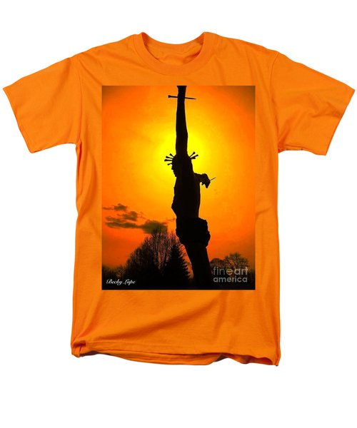 Jesus In Sunset 1 Hope Men's T-Shirt  (Regular Fit) by Becky Lupe