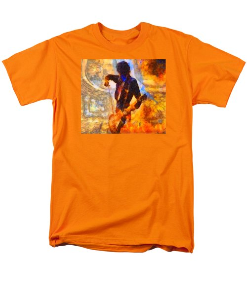 Jimmy Page Playing Guitar With Bow Men's T-Shirt  (Regular Fit) by Dan Sproul