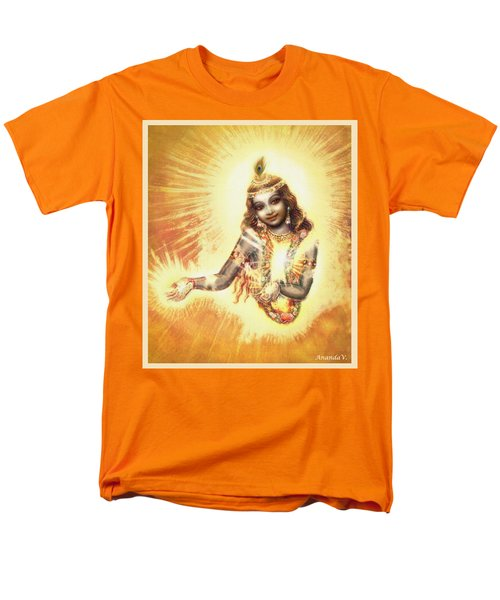 Men's T-Shirt  (Regular Fit) featuring the mixed media Krishna Vision In The Clouds by Ananda Vdovic