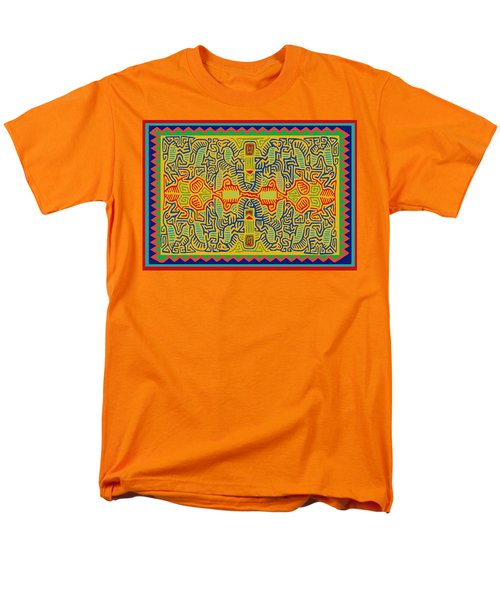 Men's T-Shirt  (Regular Fit) featuring the digital art Kuna Bird Spirits by Vagabond Folk Art - Virginia Vivier