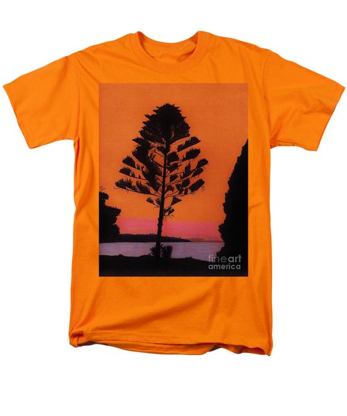 Men's T-Shirt  (Regular Fit) featuring the drawing Lake Sunset by D Hackett