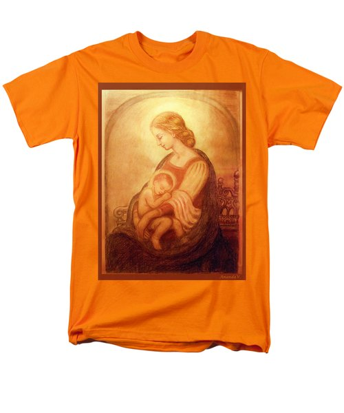 Men's T-Shirt  (Regular Fit) featuring the mixed media Madonna With The Sleeping Child by Ananda Vdovic