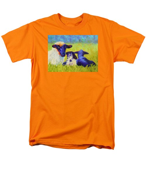 Men's T-Shirt  (Regular Fit) featuring the painting Mom And The Kids by Nancy Jolley