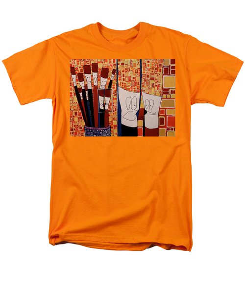 Men's T-Shirt  (Regular Fit) featuring the painting My Brushes Are Talking About Me by Donna Howard