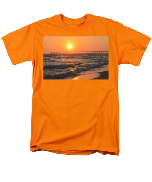 Navarre Beach And Pier Sunset Colors With Birds And Waves Men's T-Shirt  (Regular Fit) by Jeff at JSJ Photography