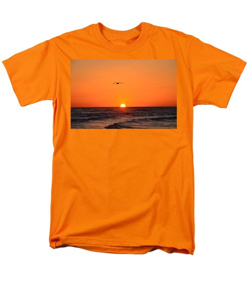Men's T-Shirt  (Regular Fit) featuring the photograph Navarre Beach Sunrise Waves And Bird by Jeff at JSJ Photography