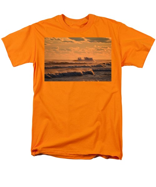Men's T-Shirt  (Regular Fit) featuring the photograph Opal Beach Sunset Colors With Huge Waves by Jeff at JSJ Photography