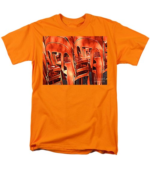 Men's T-Shirt  (Regular Fit) featuring the digital art Orange Chairs by Valerie Reeves