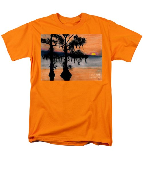 Men's T-Shirt  (Regular Fit) featuring the drawing Orange Cypress Sunset by D Hackett