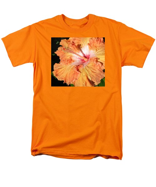 Men's T-Shirt  (Regular Fit) featuring the photograph Orange Hibiscus After The Rain by Connie Fox