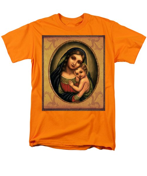 Men's T-Shirt  (Regular Fit) featuring the mixed media Oval Madonna  by Ananda Vdovic