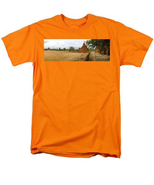 Men's T-Shirt  (Regular Fit) featuring the photograph Panoramic View Next To Dhammayazika Pagoda Built In 1196 By King Narapatisithu by Ralph A  Ledergerber-Photography