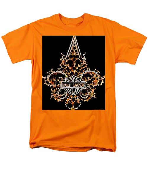 Men's T-Shirt  (Regular Fit) featuring the digital art Perforated Fleurs De Lys With Harley Davidson Logo by Danielle  Parent