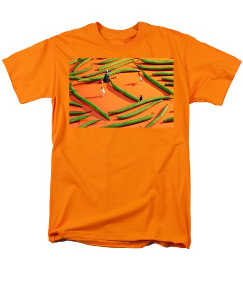 Playing Tennis Among French Beans Little People On Food Men's T-Shirt  (Regular Fit) by Paul Ge
