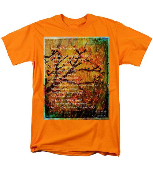 Prayer Of St. Francis Of Assisi  And Cherry Blossoms Men's T-Shirt  (Regular Fit) by Barbara Griffin