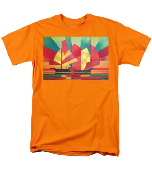 Men's T-Shirt  (Regular Fit) featuring the painting Sails And Ocean Skies by Tracey Harrington-Simpson