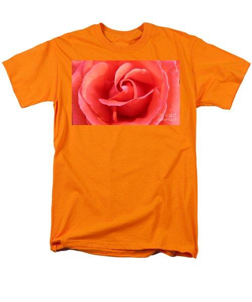 Salmon Floral Rose Abstract Men's T-Shirt  (Regular Fit) by Judy Palkimas