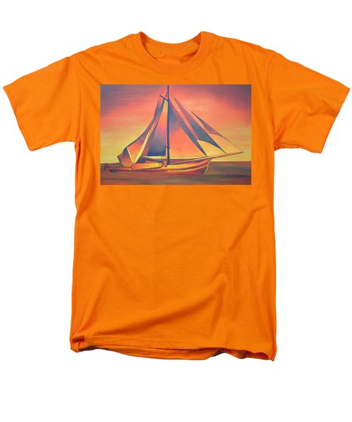 Men's T-Shirt  (Regular Fit) featuring the painting Sienna Sails At Sunset by Tracey Harrington-Simpson