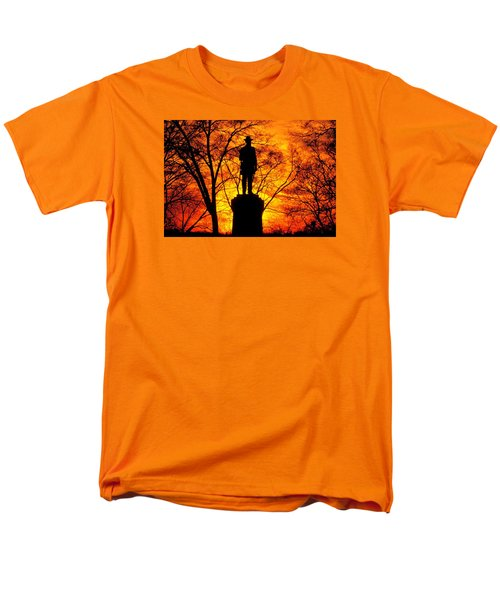Men's T-Shirt  (Regular Fit) featuring the photograph Sky Fire - Flames Of Battle 50th Pennsylvania Volunteer Infantry-a1 Sunset Antietam by Michael Mazaika