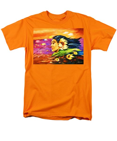 Men's T-Shirt  (Regular Fit) featuring the painting South Sea Breeze  Fleeting Blossoms by Al Brown