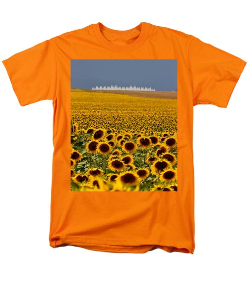Men's T-Shirt  (Regular Fit) featuring the photograph Sunflowers And Airports by Ronda Kimbrow