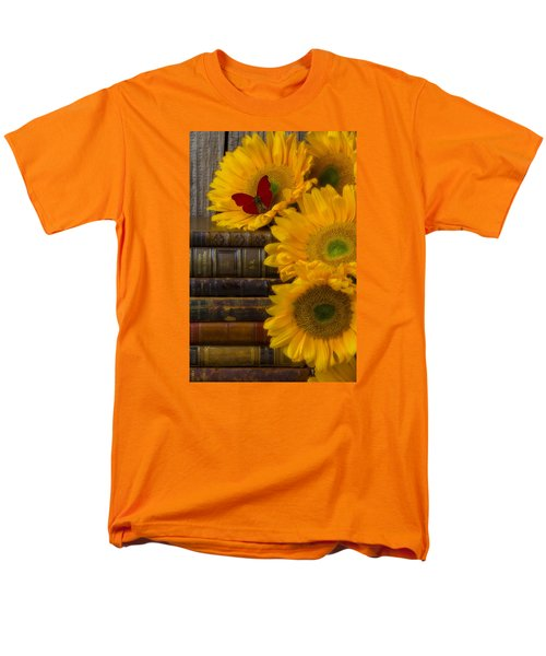 Sunflowers And Old Books Men's T-Shirt  (Regular Fit) by Garry Gay
