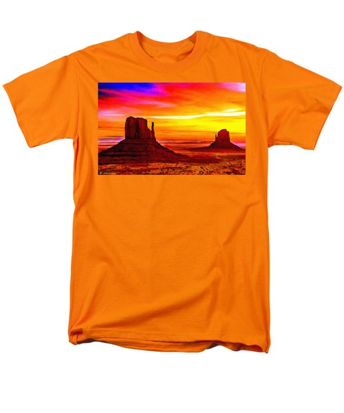 Sunrise Monument Valley Mittens Men's T-Shirt  (Regular Fit) by Bob and Nadine Johnston