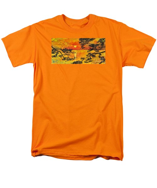 Men's T-Shirt  (Regular Fit) featuring the painting Sunset For My Parents by Teresa Wegrzyn
