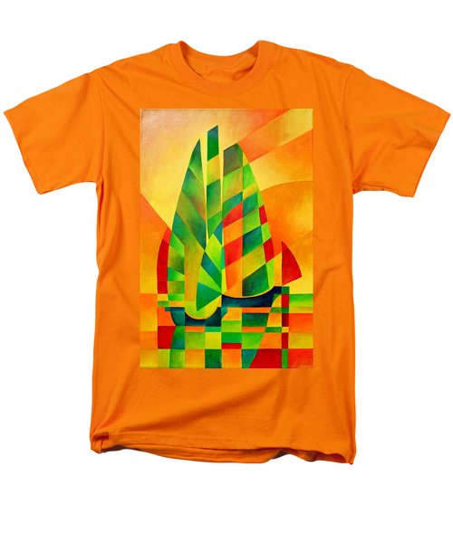 Men's T-Shirt  (Regular Fit) featuring the painting Sunset Sails And Shadows by Tracey Harrington-Simpson
