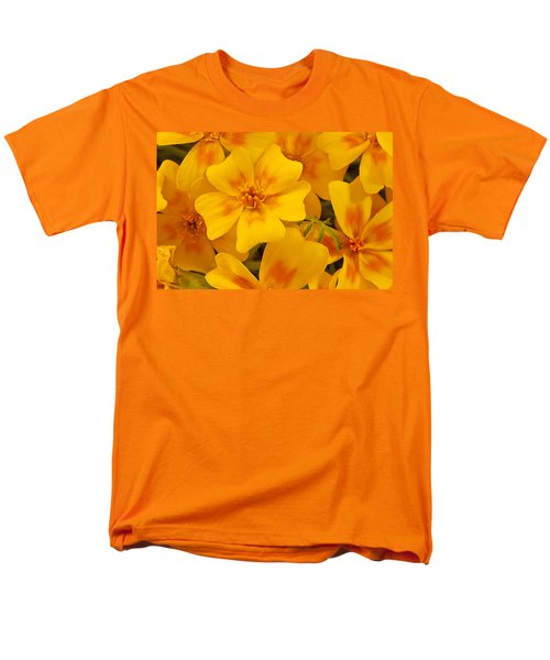 Men's T-Shirt  (Regular Fit) featuring the photograph Tagette Marigold Blossoms Macro by Sandra Foster