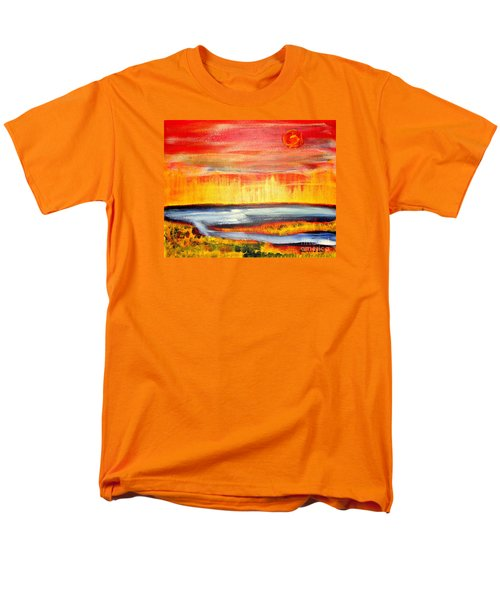 Men's T-Shirt  (Regular Fit) featuring the painting The First Handcart Is Faith by Richard W Linford