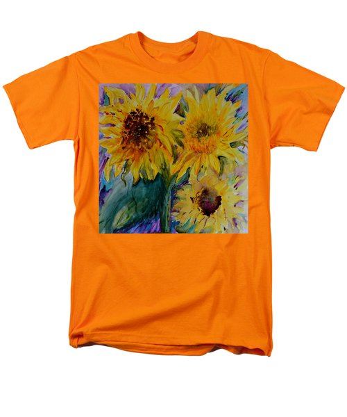 Men's T-Shirt  (Regular Fit) featuring the painting Three Sunflowers by Beverley Harper Tinsley