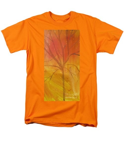 Men's T-Shirt  (Regular Fit) featuring the painting Tree Of Three Gold by Robin Maria Pedrero