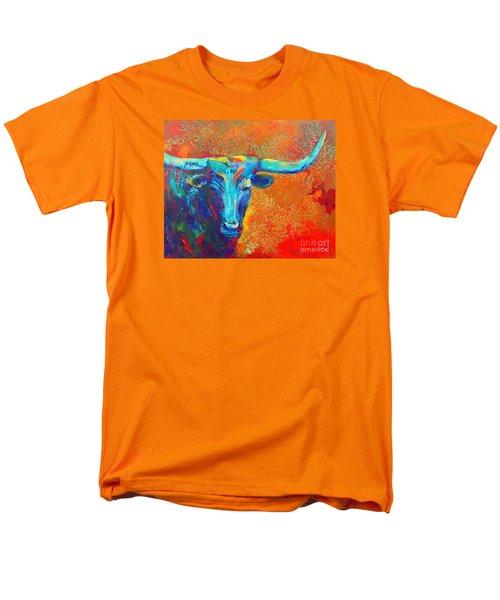 Turquoise Longhorn Men's T-Shirt  (Regular Fit) by Karen Kennedy Chatham