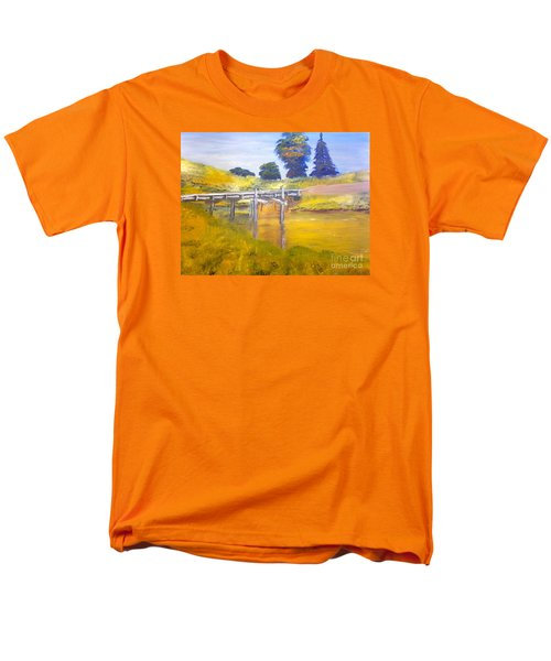 Men's T-Shirt  (Regular Fit) featuring the painting Wooden Bridge At Graften by Pamela  Meredith
