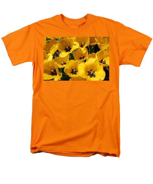 Men's T-Shirt  (Regular Fit) featuring the photograph Golden Tulips In Full Bloom by Dora Sofia Caputo Photographic Art and Design