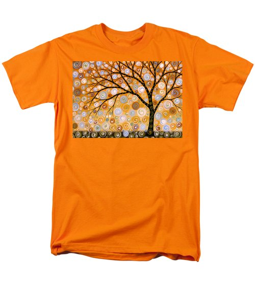 Men's T-Shirt  (Regular Fit) featuring the painting Abstract Modern Tree Landscape Dreams Of Gold By Amy Giacomelli by Amy Giacomelli