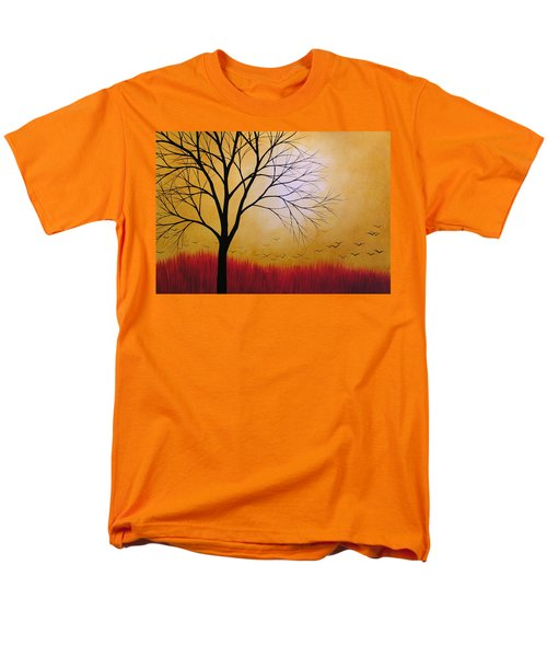 Men's T-Shirt  (Regular Fit) featuring the painting Abstract Original Tree Painting Summers Anticipation By Amy Giacomelli by Amy Giacomelli