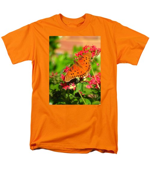 Men's T-Shirt  (Regular Fit) featuring the photograph Butterfly On Pentas by Carla Parris