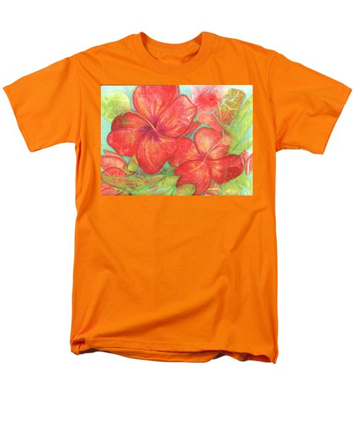 Men's T-Shirt  (Regular Fit) featuring the painting Two Hibiscus Blossoms by Carla Parris