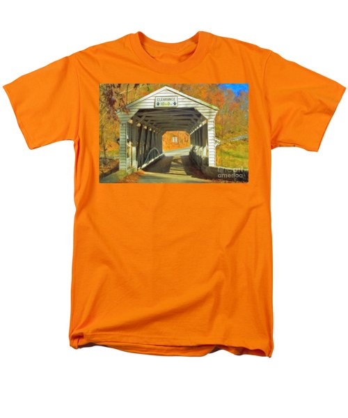 Men's T-Shirt  (Regular Fit) featuring the photograph  Covered Bridge Watercolor  by David Zanzinger