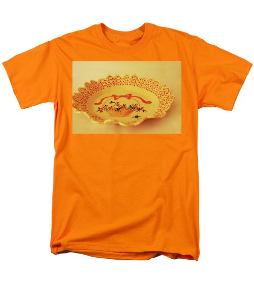 Decorated Plate With A Basket And Flowers Men's T-Shirt  (Regular Fit) by Itzhak Richter