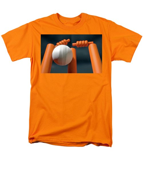 Cricket Ball Hitting Wickets Men's T-Shirt  (Regular Fit) by Allan Swart