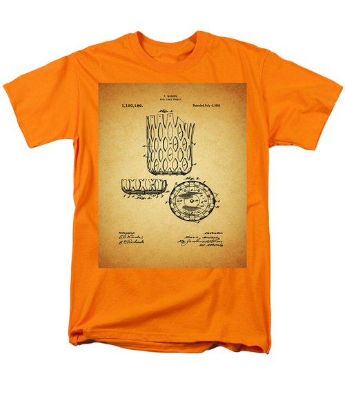 Men's T-Shirt  (Regular Fit) featuring the mixed media 1916 Pool Table Pocket Patent by Dan Sproul
