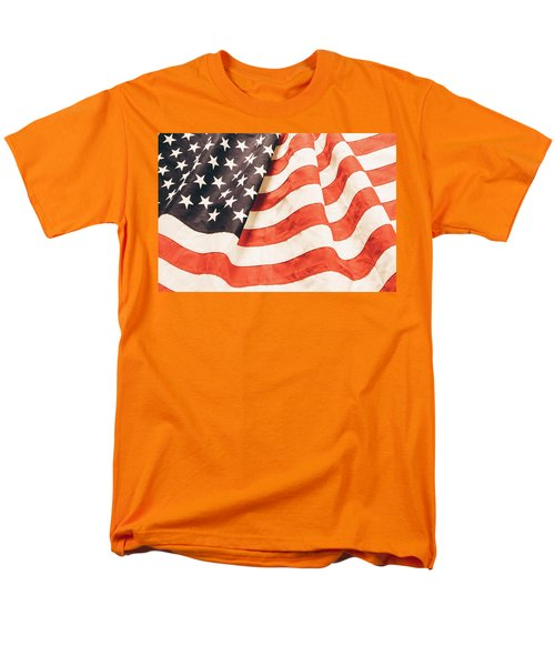 Men's T-Shirt  (Regular Fit) featuring the photograph American Flag by Les Cunliffe