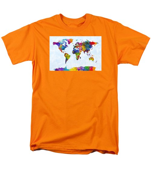 Watercolor Map Of The World Map Men's T-Shirt  (Regular Fit) by Michael Tompsett